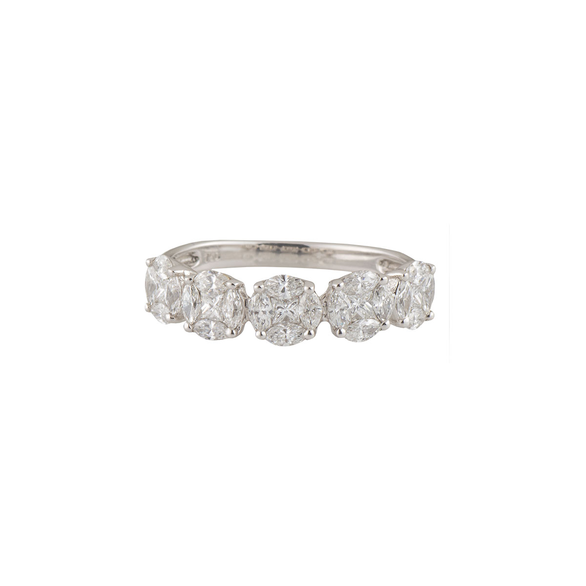 White Gold Diamond Cluster Eternity Ring 0.91ct G-H/VS-VVS